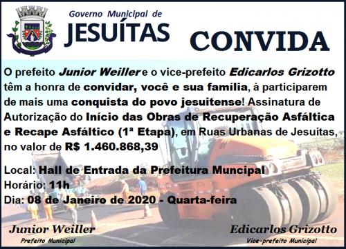Assinatura de Autorização do Início das Obras de Recuperação e Recape Asfáltico em Ruas Urbanas de Jesuítas