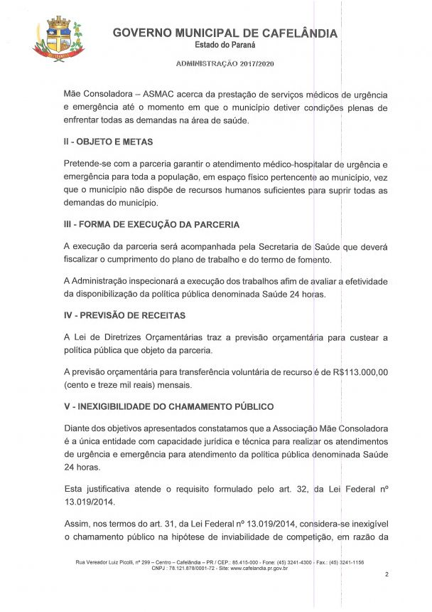 Termo de justificativa para inexibilidade de chamamento público Nº 001/2017