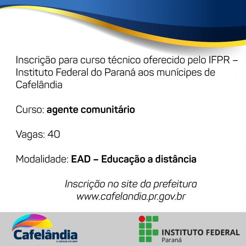 IFPR oferece curso gratuito para munícipes de Cafelândia