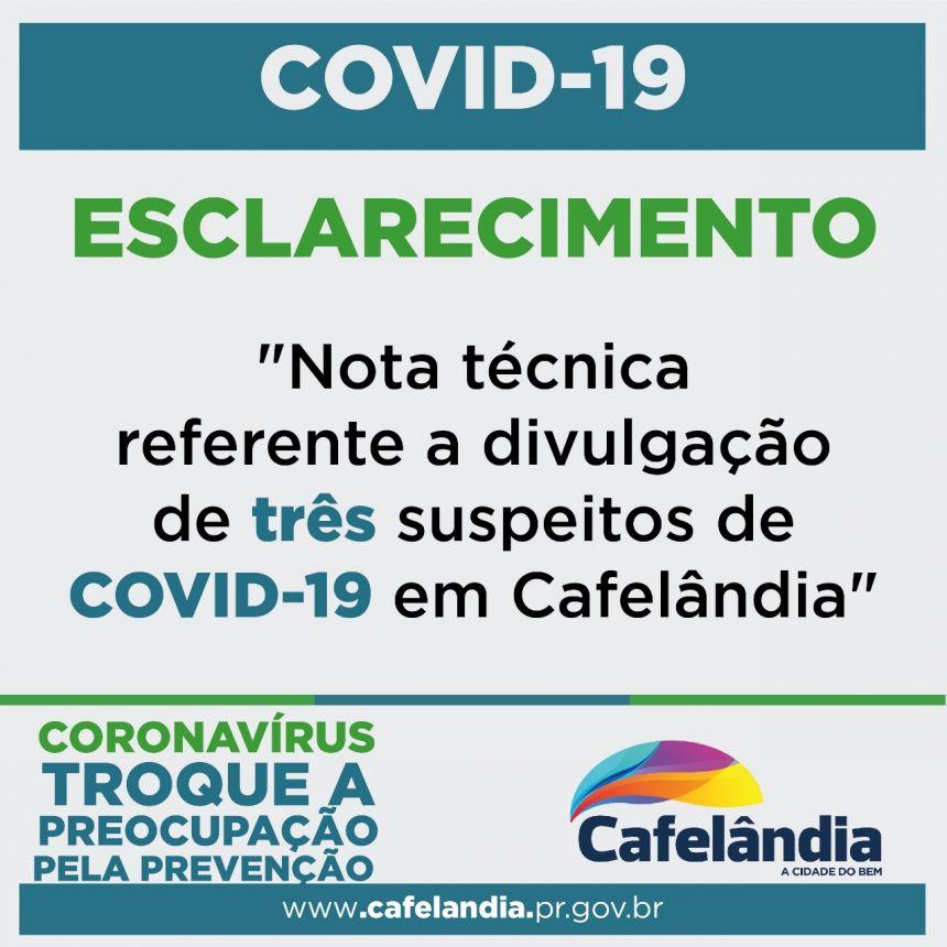 Nota técnica da Secretaria de Saúde de Cafelândia