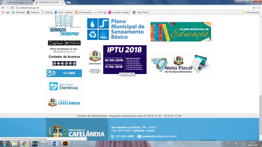 IPTU 2018 começa a ser entregue em Cafelândia