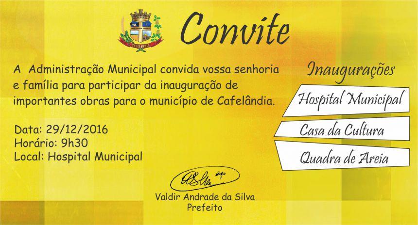 Hospital Municipal e 5ª Etapa da Casa da Cultura serão inaugurados nesta quinta