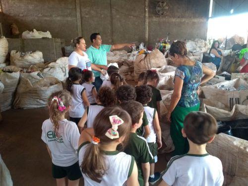 Alunos do Colégio Ellos visitam a Associação de Catadores de Material Reciclável