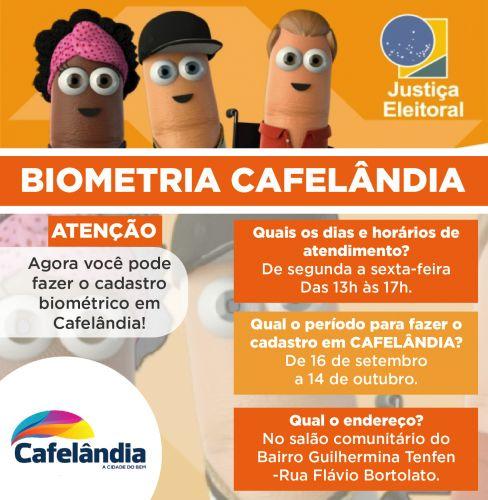 Cadastramento biométrico será feito em Cafelândia