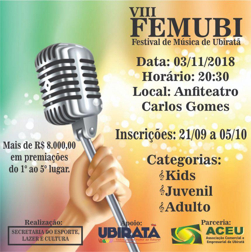 Inscrições para a 8ª edição do FEMUBI já estão abertas
