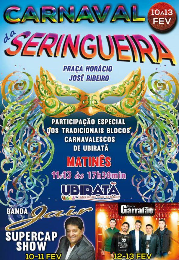Carnaval da Seringueira será realizado de 10 a 13 de fevereiro