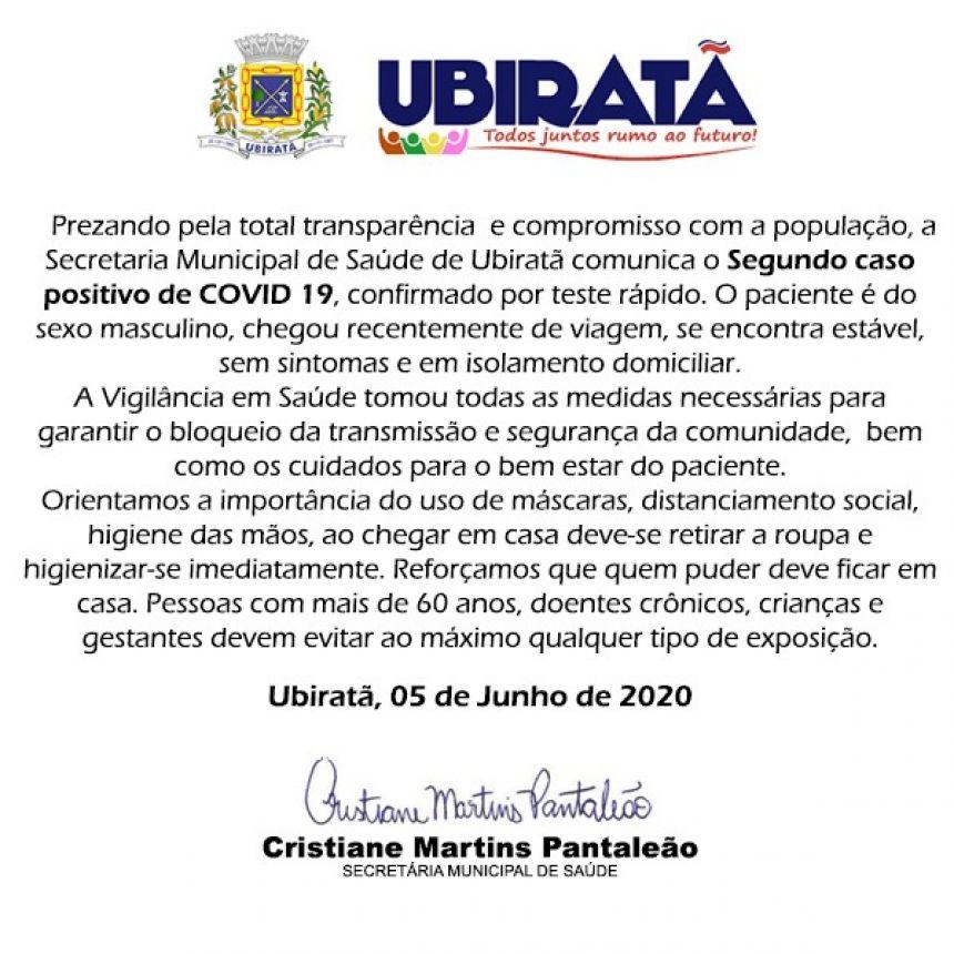 Secretaria de Saúde confirma segundo caso de Covid-19 em Ubiratã
