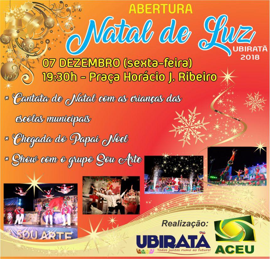 Abertura do Natal Luz de Ubiratã será nesta sexta-feira