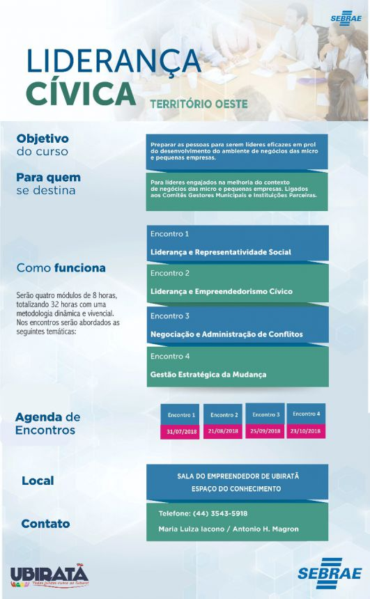 Curso de liderança cívica será realizado em Ubiratã