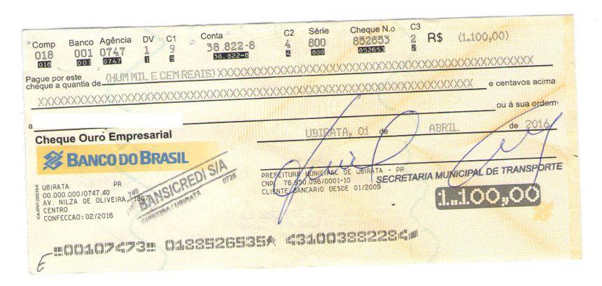 Prefeitura alerta sobre cheques falsos em seu nome que estão circulando no comércio