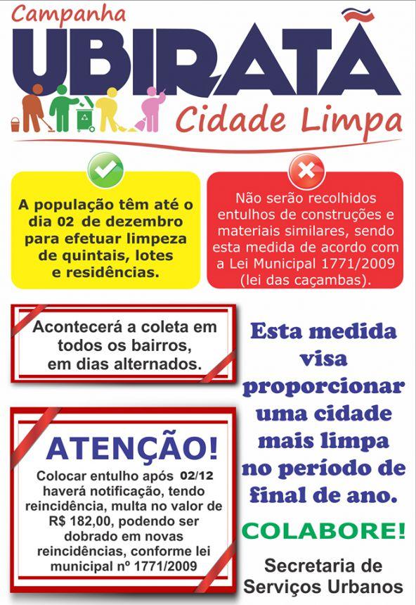 Ubiratã Cidade Limpa: munícipes têm até o dia 02 de dezembro para efetuar limpeza de quintais
