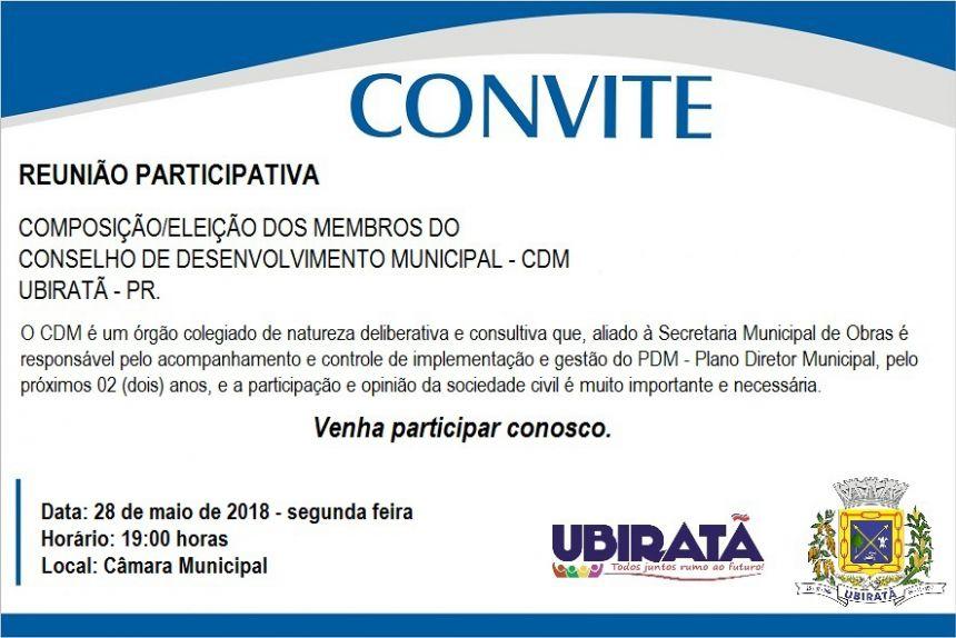 Segunda-feira acontece reunião para composição e eleição do Conselho de Desenvolvimento Municipal
