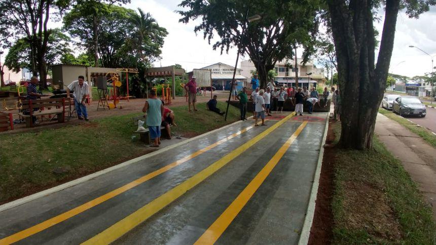 Quadra de malha da Praça dos Pioneiros foi ampliada e recebeu melhorias