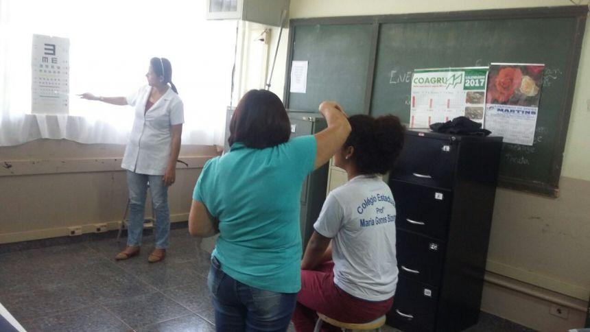 Alunos de Yolanda passam por avaliação antropométrica e acuidade visual