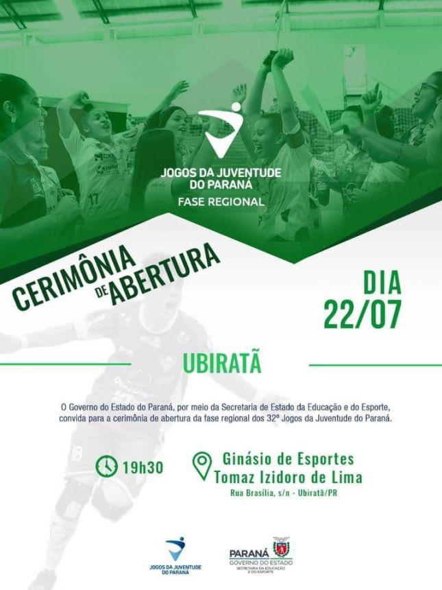 UBIRATÃ SERÁ SEDE DOS JOGOS DA JUVENTUDE DO PARANÁ