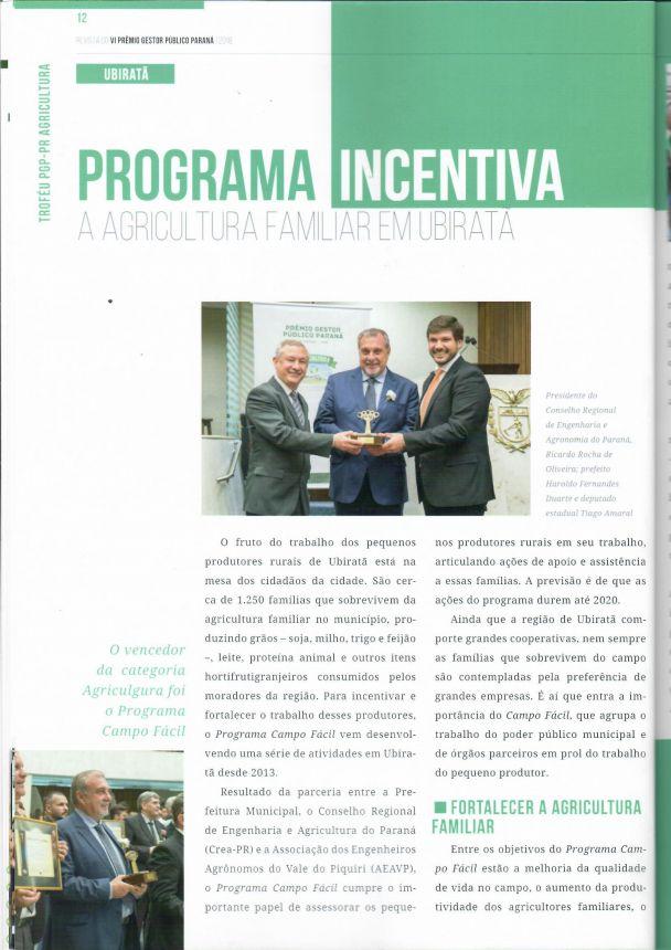 Ubiratã é destaque na Revista do Prêmio Gestor Público Paraná
