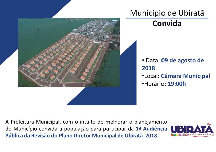 Ubiratã realizará audiência pública para revisão do Plano Diretor Municipal