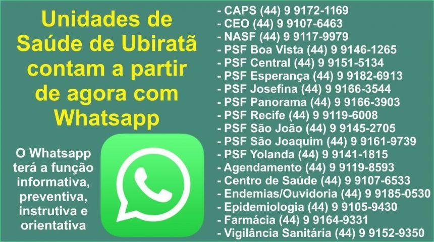Para facilitar a comunicação e interação, Unidades de Saúde de Ubiratã contam com WhatsApp