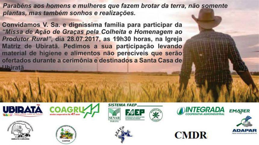 Missa de ação de graças pela colheita e homenagem ao produtor rural acontece hoje na Igreja Matriz