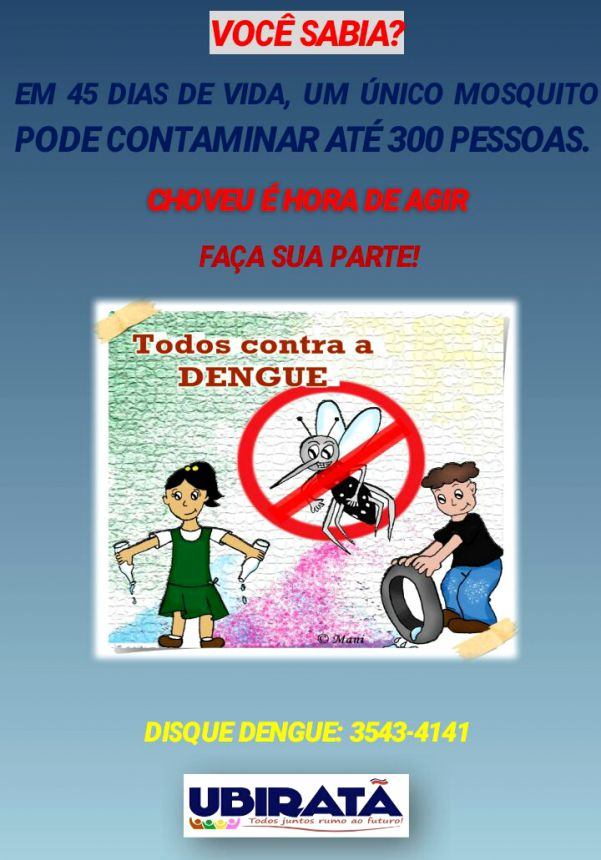 Secretaria de Saúde alerta a população sobre proliferação do mosquito Aedes Aegypti após período de chuvas