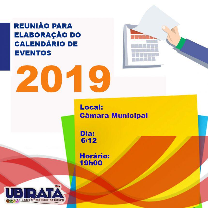 Reunião dia 6 de dezembro definirá calendário de eventos para o ano de 2019