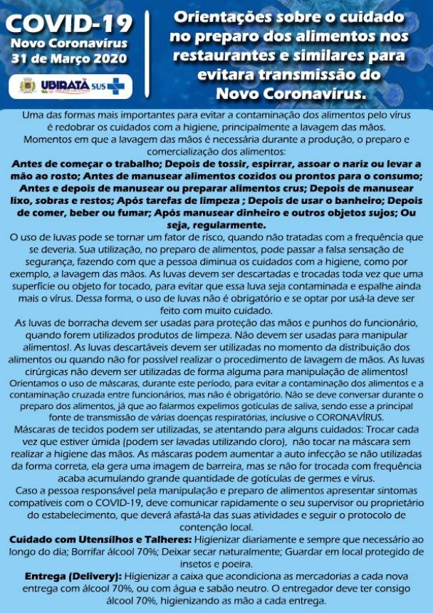 Orientações sobre o cuidado no preparo dos alimentos nos restaurantes e similares para evitar a transmissão no Novo Coronavírus