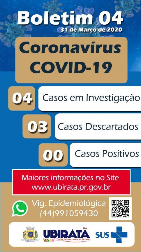 Secretaria de Saúde divulga 4º Boletim Epidemiológico com informações sobre o Coronavírus e Dengue em Ubiratã