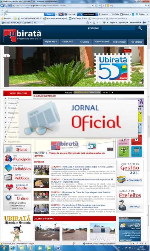 Desde o dia 15 de junho que Ubiratã publica seus atos no Jornal Oficial Eletrônico