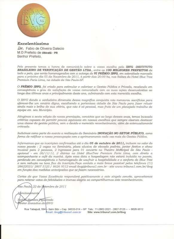 Convite feito ao prefeito pela IBVG