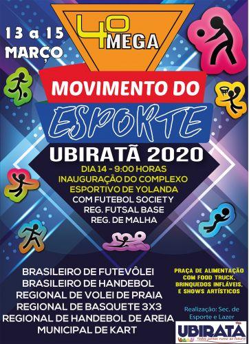 Vem aí a quarta edição do Mega Movimento do Esporte de Ubiratã