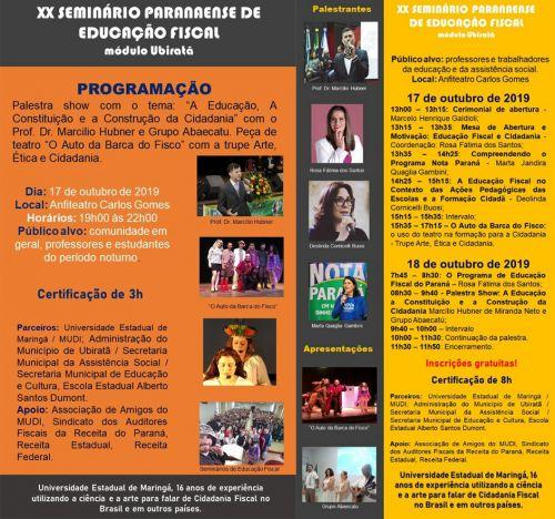 Vem aí o 20º Seminário Paranaense de Educação Fiscal em Ubiratã
