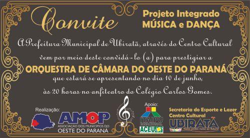 Ubiratã recebe neste domingo espetáculo da Orquestra de Câmara do Oeste do Paraná