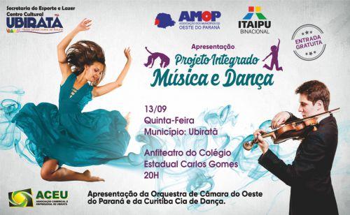 Ubiratã recebe nessa quinta-feira Projeto Integrado Música e Dança