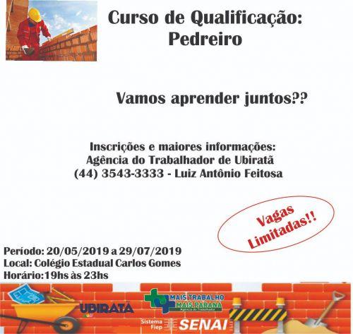 Continuam abertas inscrições para curso de qualificação para pedreiros