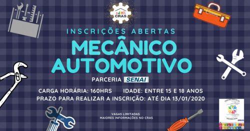 Inscrições abertas para curso de mecânico automotivo