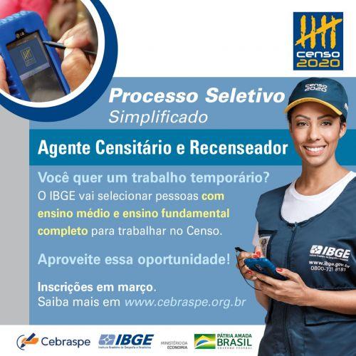 IBGE abre 12 mil vagas temporárias para o Censo no Paraná; Em Ubiratã serão 20 vagas para recenseador e 4 para ACM/ACS