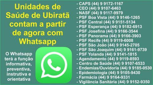 Para facilitar a comunicação e interação, Unidades de Saúde de Ubiratã contam a partir de agora com Whatsapp