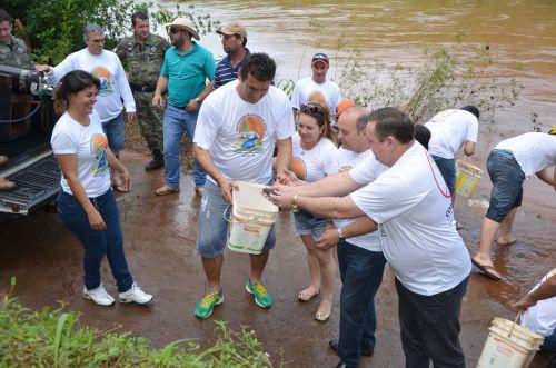 Amigos do Rio realizam soltura de 60 mil peixes juvenis no Piquiri