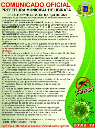 Declarado situação de emergência no Município de Ubiratã e fechamento do comércio devido à pandemia do coronavírus e epidemia de dengue