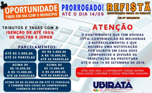 Prorrogado para 14 de setembro prazo para contribuintes regularizar situação tributária com o município