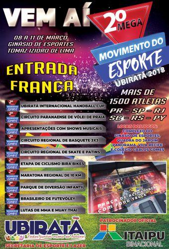 Segunda edição do Mega Movimento do Esporte promete agitar Ubiratã