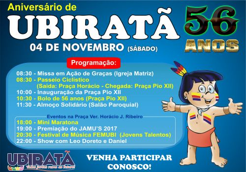 Aniversário de Ubiratã será comemorado com programação especial