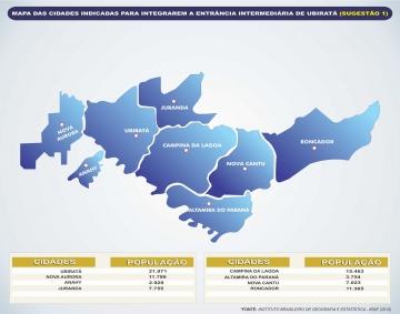 Outra sugestão faria com que a comarca de Ubiratã tenha oito municípios