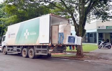 O caminhão carregado de equipamentos chegou ao município na manhã dessa terça-feira