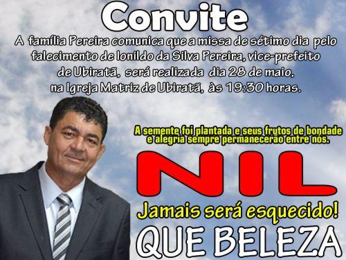 Missa de 7º dia de Nil Pereira será celebrada hoje na Igreja Matriz