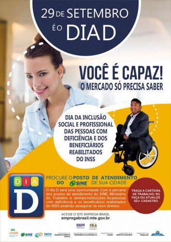 Sexta-feira Agência do Trabalhador terá ações pelo Dia da Inclusão Social e Profissional das Pessoas com Deficiência
