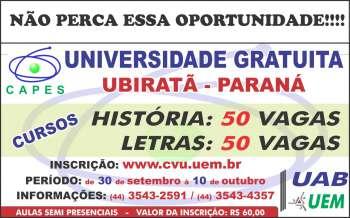 Inscrições para o vestibular da UAB/UEM tiveram início no dia 30