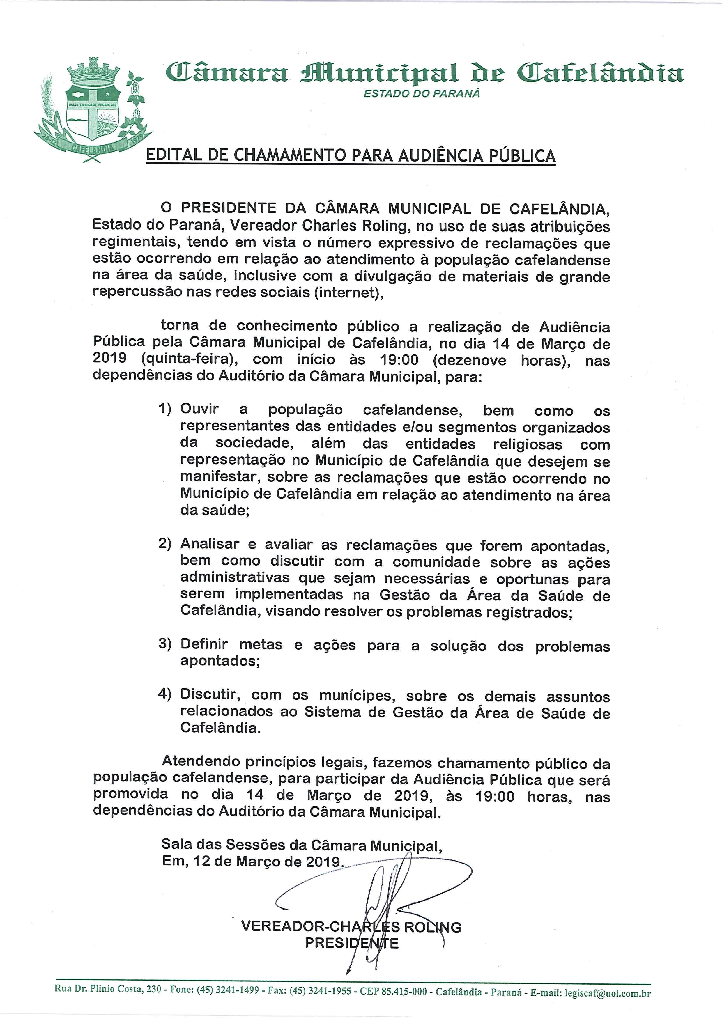 A Câmara Municipal Convida a Todos para participarem da Audiência Pública sobre a Saúde