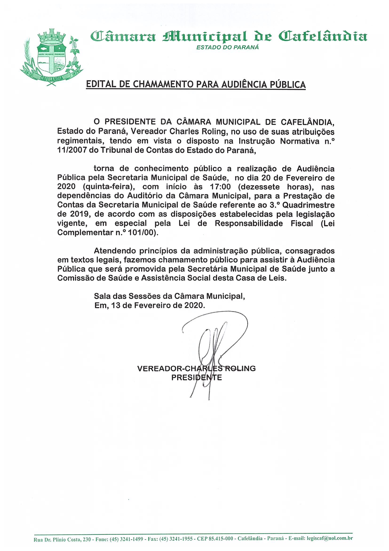 Edital de Chamamento para Audiência Pública da Saúde do dia 20 de Fevereiro de 2020 às 17:00 Horas.