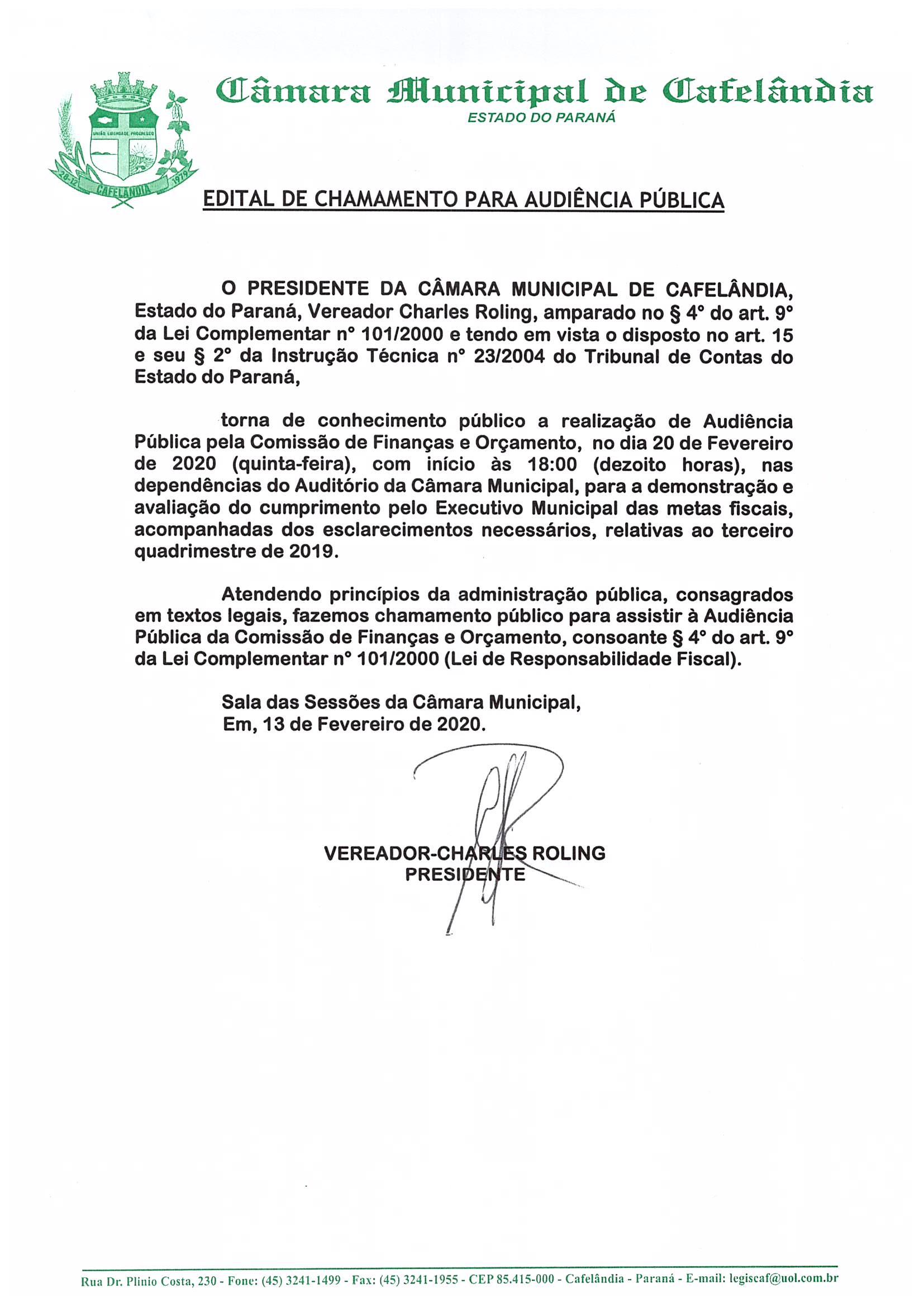 Edital de Chamamento para Audiência Pública da Comissão de Finanças e Orçamento do dia 20 de Fevereiro de 2020 às 18:00 Horas.